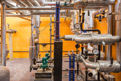 Boiler room in the basement. Royalty Free Stock Photos