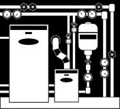 Boiler room. In black and white color Stock Image
