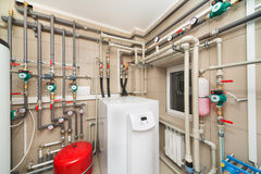 Boiler room equipment with deep pumps Royalty Free Stock Image