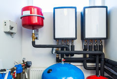Boiler room equipment with deep pumps Stock Photo