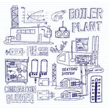 Boiler room equipment, engineering systems. Sketch. Vector file. Stock Images