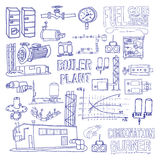 Boiler room equipment, engineering systems. Sketch. Vector file. Royalty Free Stock Images