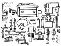 Boiler room equipment, engineering systems. Sketch. Vector file. Royalty Free Stock Image