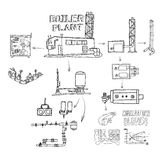 Boiler room equipment, engineering systems. Sketch. Vector file. Royalty Free Stock Photography