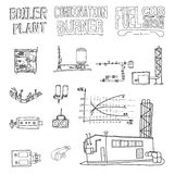 Boiler room equipment, engineering systems. Sketch. Vector file. Stock Image