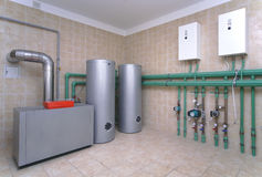 Boiler room. With a heating system in a private house stock image