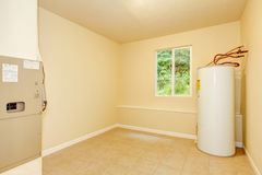 Boiler room with a heating system in a private house stock photos