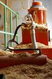 Boiler room hydraulic system supplying sawdust Stock Image