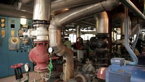 Boiler room. With pipes, valves and sensors stock video