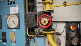 Boiler room. With pipes, valves and sensors stock video footage
