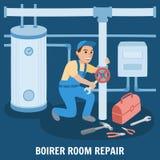 Boiler Room Repair. Vector Illustration. vector illustration