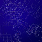 Boiler room technical drawings. Heater engineering project. Royalty Free Stock Photo