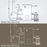 Boiler thin line design. Boiler pen Icon. Boiler Icon Vector. Boiler Icon Drawing. Boiler pen Icon Image. Boiler pen Icon Graphic. Boiler pen Icon Art. Think Stock Image