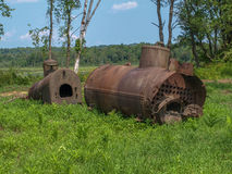 Boilers from an old saw mill. These boilers are remnants from an old saw mill Stock Images