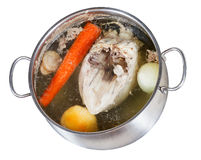 Boiling of chicken broth isolated Stock Photos