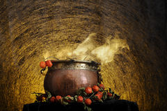 Boiling copper halloween cauldron Stock Image