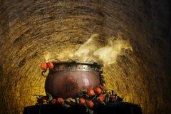 Boiling copper halloween cauldron stock image