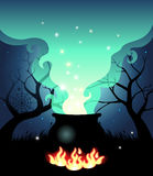 Boiling Halloween cauldron Royalty Free Stock Photography