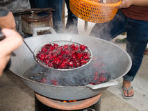 Boiling Jamaican Sorrel for a short time. Prepared ingredient for food Royalty Free Stock Photo