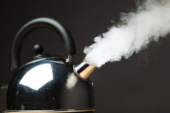 Boiling kettle. With dense steam stock images