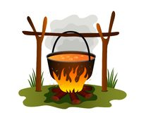 Boiling lunch in a pan in nature. Boiler and bonfire in the summer camp. concept of green tourism and recreation. flat vector. Illustration isolated on white royalty free illustration