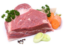 Boiling meat. Raw boiling meat on white ground stock photos
