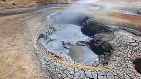 Boiling mud fumarole and dry earth on Iceland - close-up stock footage