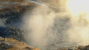 Boiling mud in the mudpot at Hverir geothermal area stock video