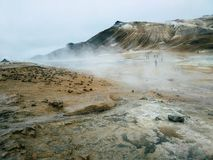 Boiling Mud in Namafjall Geothermal Area, Hverir, Iceland Geothermal area at Hverir in the north of Iceland near Lake Myvatn and stock photo