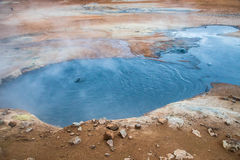 Boiling mud pool in the hverastrond sulphur springs near lake myvatn, iceland Stock Photos