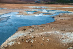 Boiling mud pool in the hverastrond sulphur springs near lake myvatn, iceland Royalty Free Stock Photo