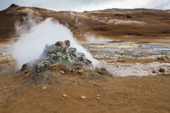 Boiling mud pool in the hverastrond sulphur springs near lake myvatn, iceland Royalty Free Stock Image