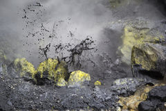The boiling mud and sulphurous fumaroles at Mutnovsky volcano, K Royalty Free Stock Photography