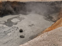 Boiling mud at volcanic area Stock Photo