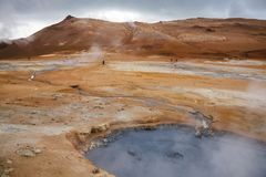 Boiling mudpool Hverir geothermal area Namafjall Myvatn Northeastern Iceland Scandinavia. Hot boiling mud pool at Námafjall Hverir geothermal area in Mý stock photos