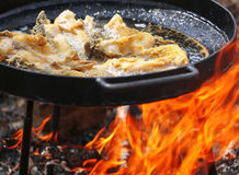 Boiling in oil on opened fire, frying fish fillet. Stock Photo