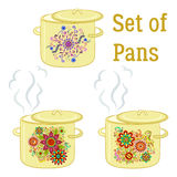 Boiling Pans with Patterns Royalty Free Stock Images