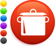 Boiling pot icon on round internet button Stock Image