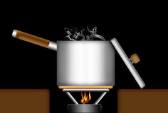 Boiling pot. Royalty Free Stock Photo