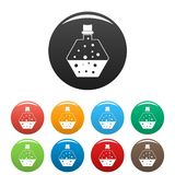Boiling potion icons set color vector illustration