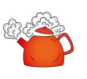 Boiling red teapot Stock Photo