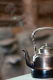 Boiling silver kettle Stock Photo