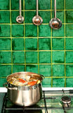 Boiling soup in the pot Stock Photo