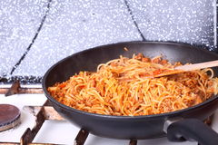 Boiling Spaghetti Pasta In A Skillet Stock Images