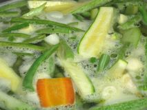 Boiling Vegetables. In a pot closeup macro Royalty Free Stock Image
