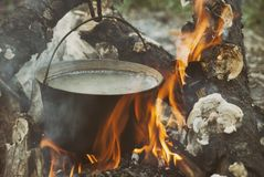 Boiling water in the bowler on the bonfire.  royalty free stock photography
