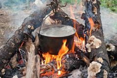 Boiling water in the bowler on the bonfire.  royalty free stock image