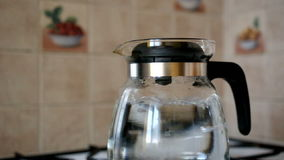 Boiling the water stock footage