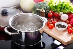 Free Boiling Water In A Cooking Pot On The Cooker Stock Photography - 111312522