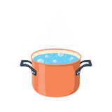 Boiling water in pan. Red cooking pot on stove with water and steam. Stock Photography